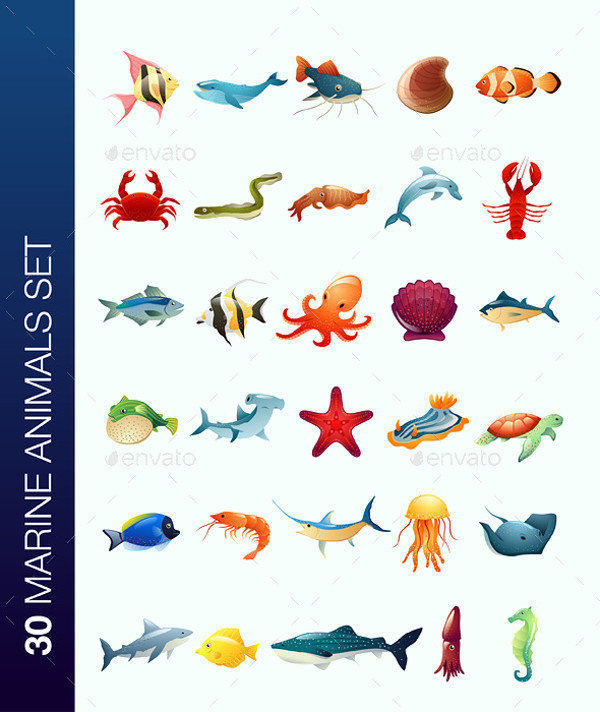 Marine Animals Vector Set