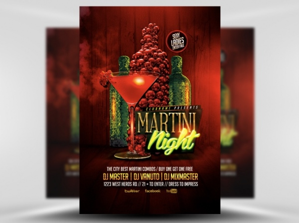Martini Nights Cocktail Flyer Template
