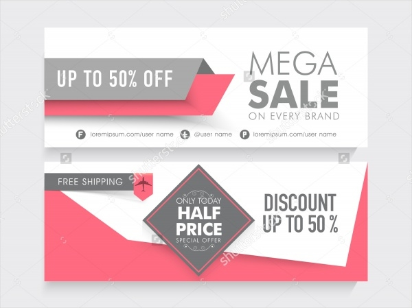 Mega Sale With 50% Discount Promotional Banner