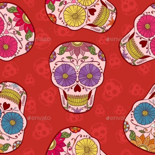 Mexican Skull Pattern Design