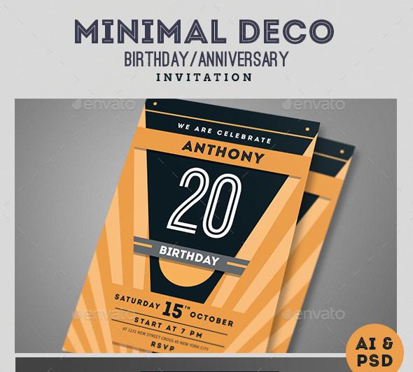 Minimal InDesign Anniversary Invitation