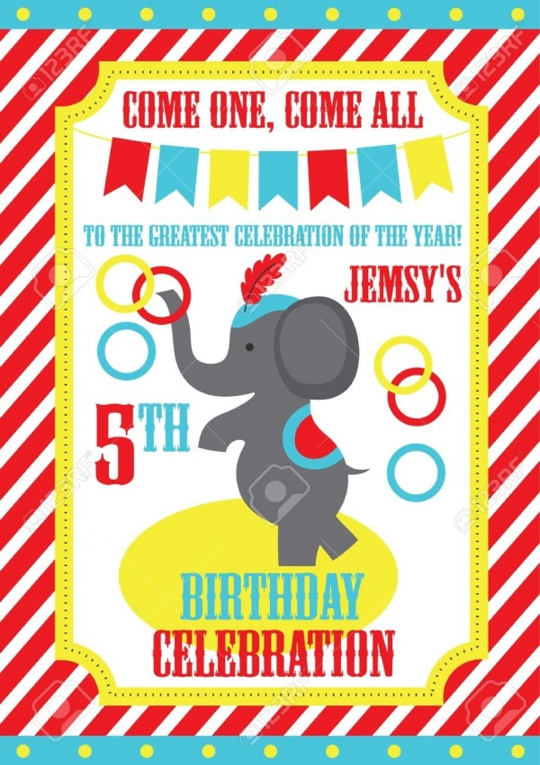 Minnie Elephant Invitation For Kid's Birthday