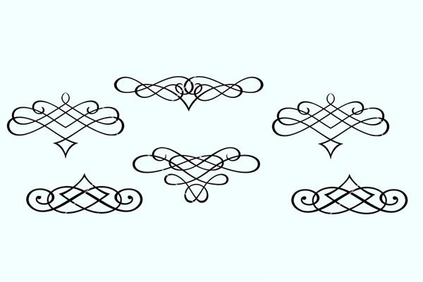 Monograms and Swirl Elements Vector