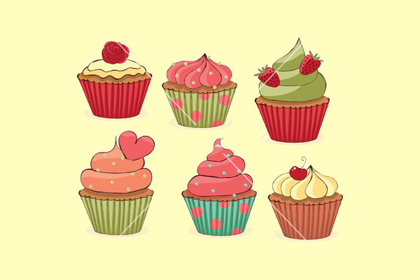 Mouth Watering Cupcakes Vector