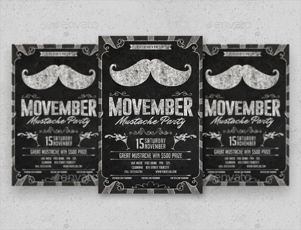 Movember Mustache Party Chalkboard Flyer