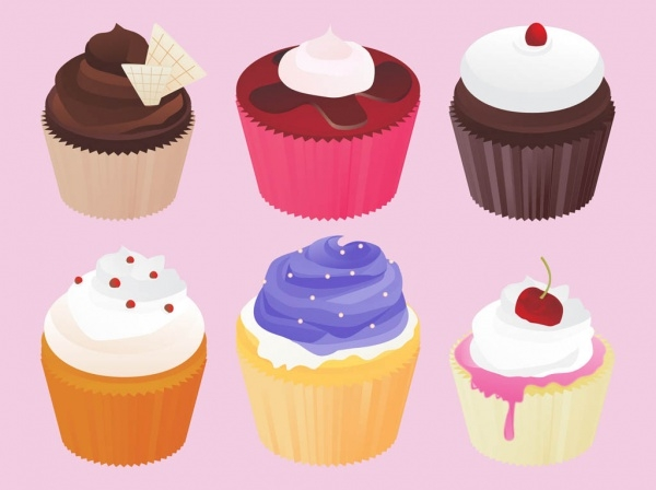 Multicolored Frosting Cupcakes Vector