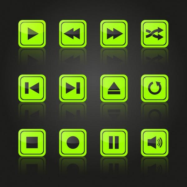 Multimedia Green Buttons Design