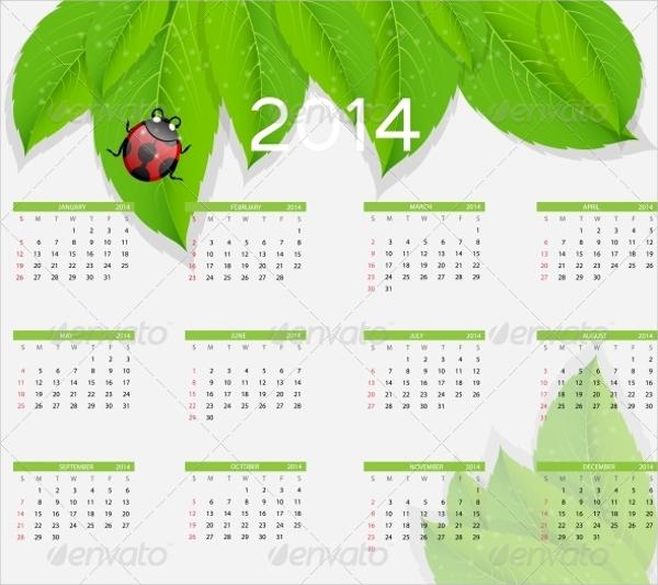Natural Events Calendar Design