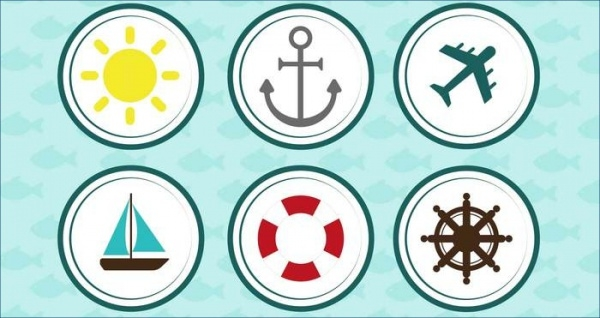 Nautical Anchor Rounded Icon set