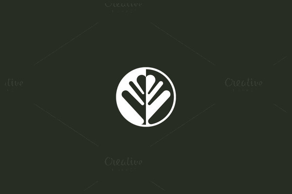 Negative Space Leaf Logo