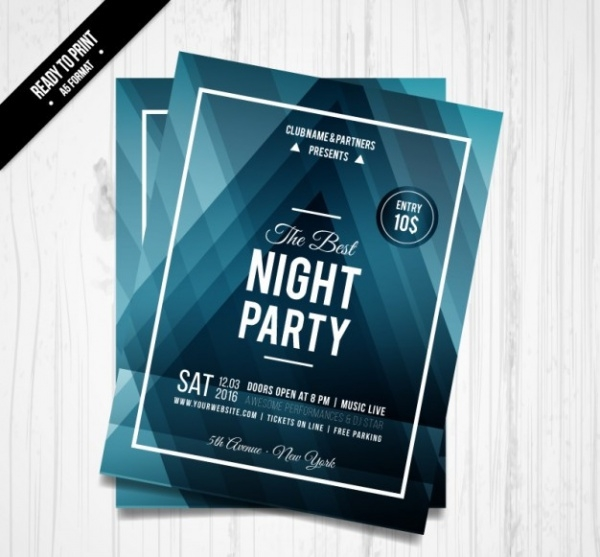 Night Party Blue Triangles Flyer