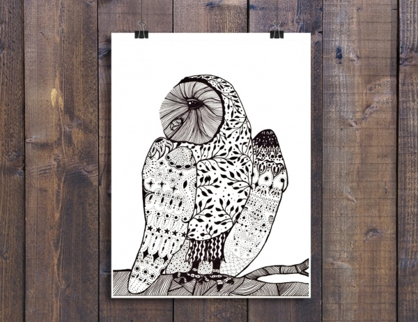 Nursery Art Owl Illustration