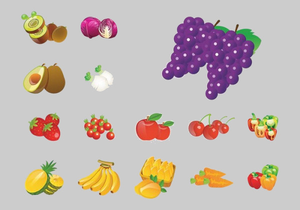 Organic Fruit Graphic Icons