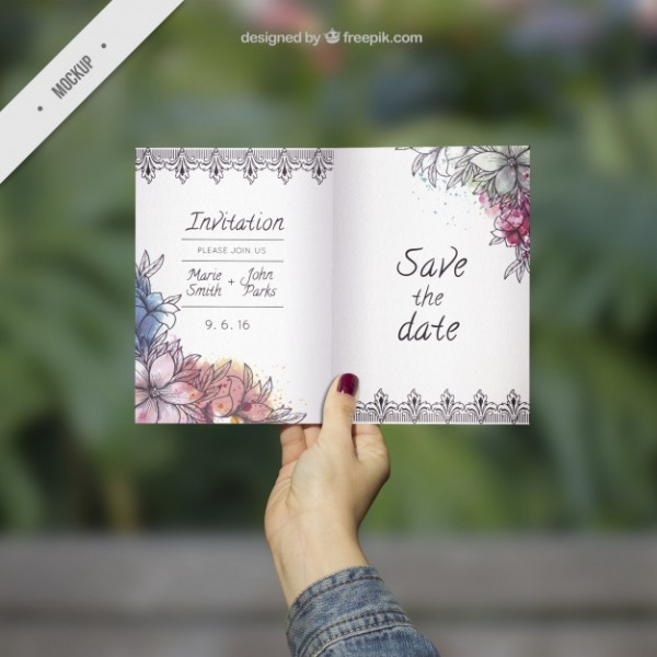 Ornamental Wedding Invitation Mockup