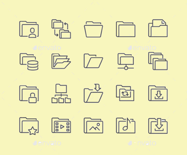 Outline Folder Vector Icons