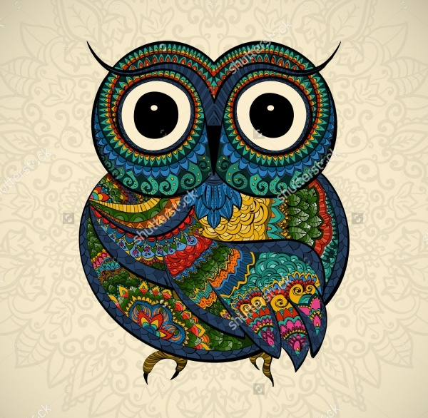 Owl Classic Tribal Illustration
