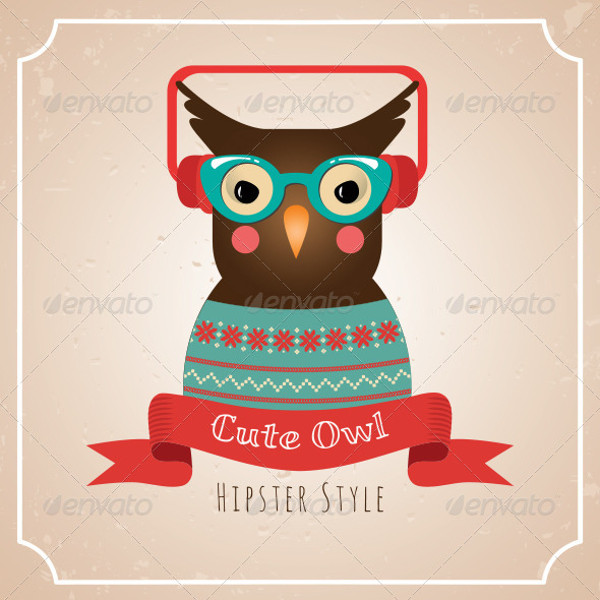 Owl Illustration Hipster Vector