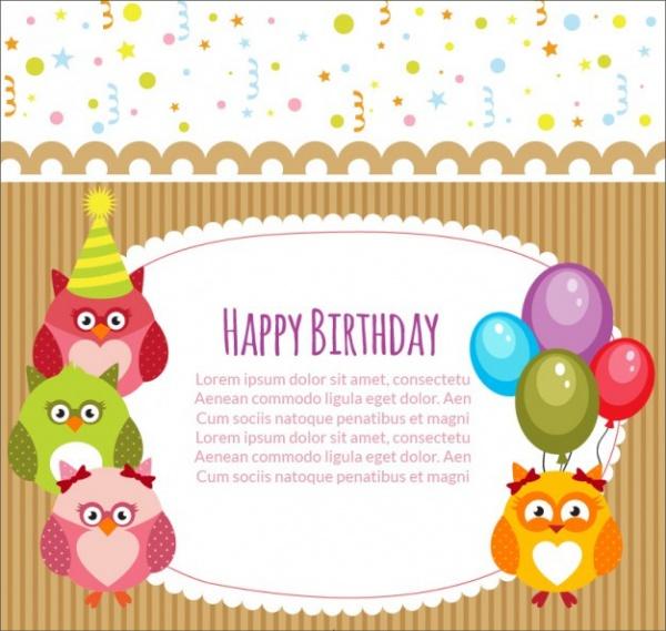 Owl Invitation Birthday Card