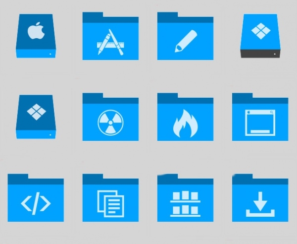 Phlat Blue Folders Icons