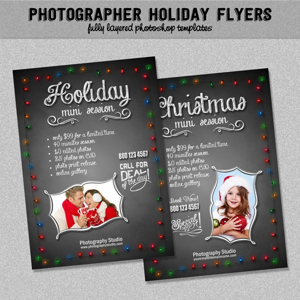 Photographer Holiday Marketing Chalkboard Flyer