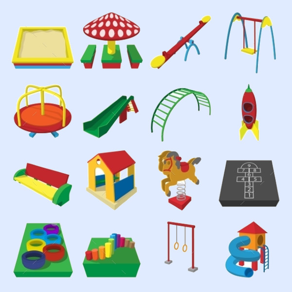 Playground Cartoon Icons