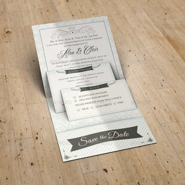 Pocket Wedding Invitation Mockup