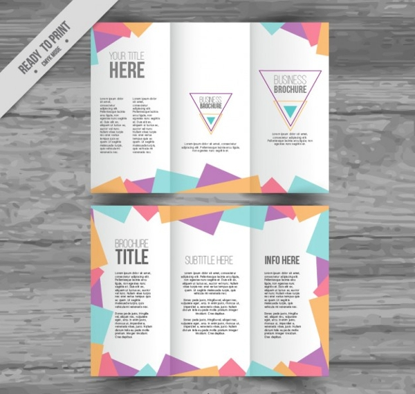 Polygonal Trifold Advertising Brochure