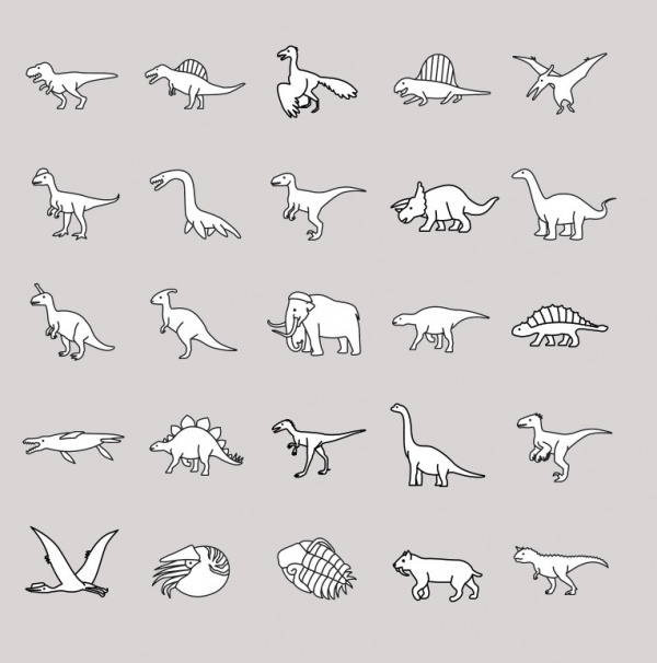 Prehistoric Animals Outlines Vector
