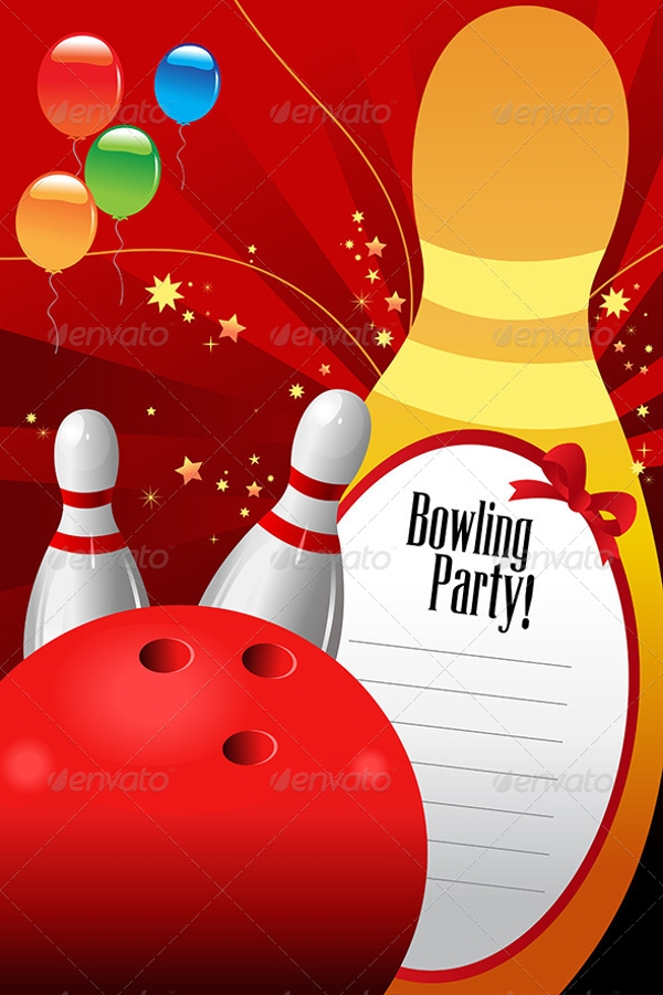 bowling party invitations  psd, vector eps, jpg download, Party invitations