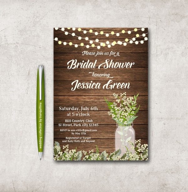 Printable Rustic Bridal Shower Invitation
