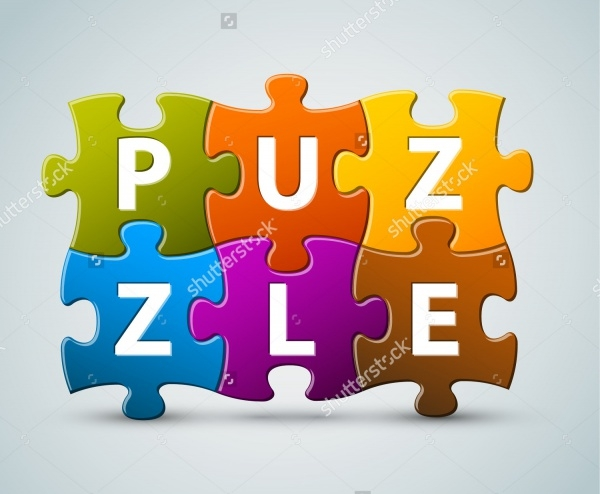 Puzzle Pieces Lettering Vector
