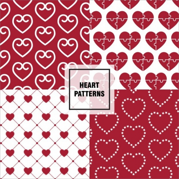 Puzzled Hearts Patterns Set