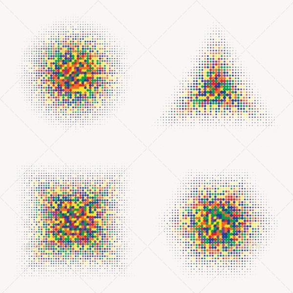 Rainbow Color Halftone Shapes Vector