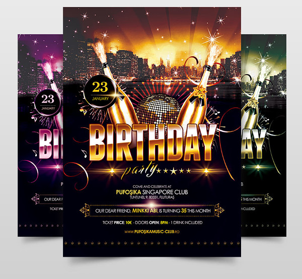 Realistic Flyer Design of Birthday