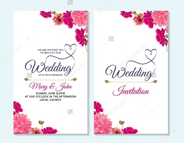 Realistic Flyer for Wedding Invitation