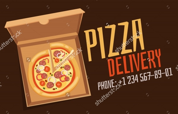 Realistic Pizza Delivery Packaging Template