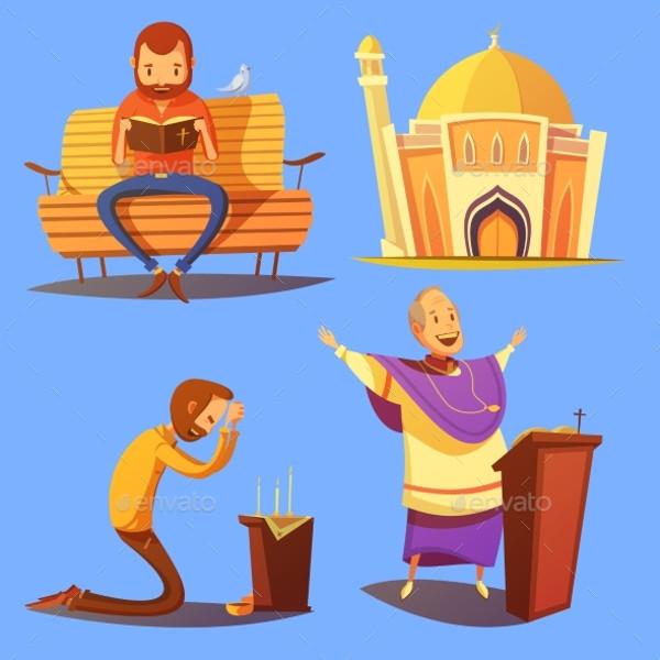 Religion Cartoon Icons Set