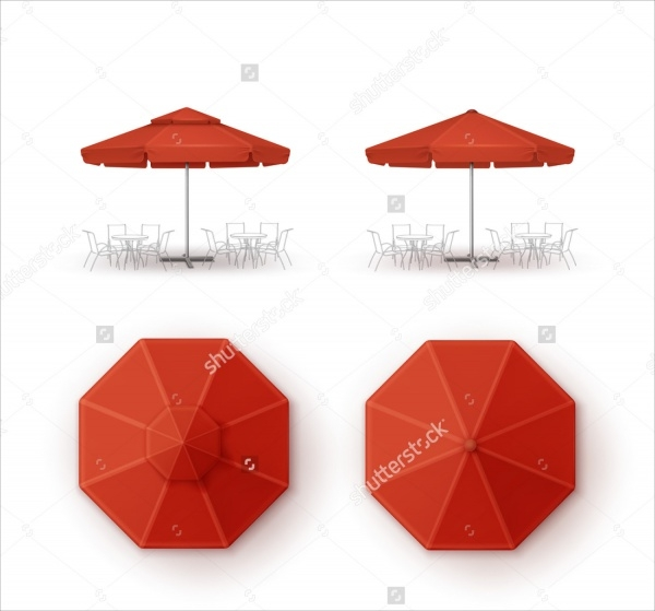 Restaurant Round Umbrella Mockup