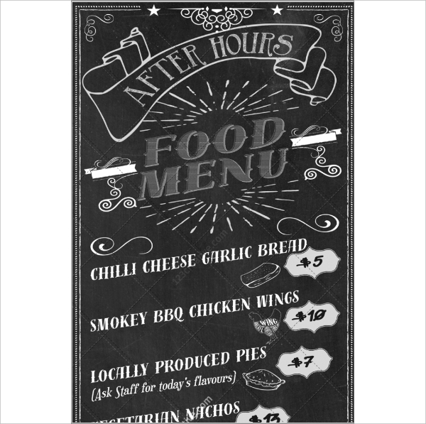 Retro Chalkboard Food Menu design template PSD