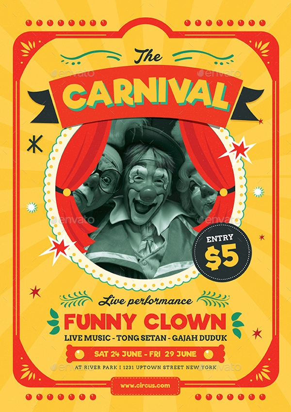Retro Circus Carnival Flyer Template