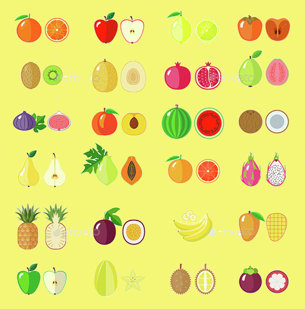 Retro Fruit Icons Bundle