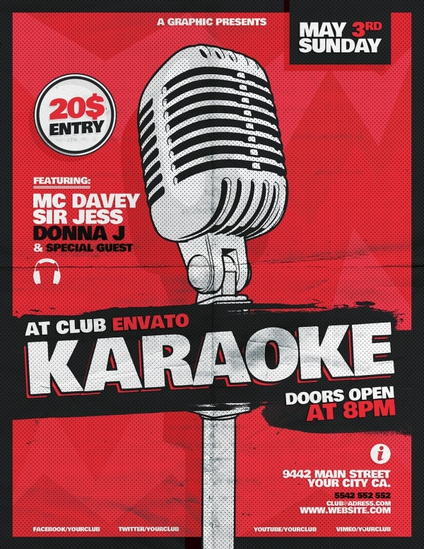 Retro Karaoke Layout Flyer Design