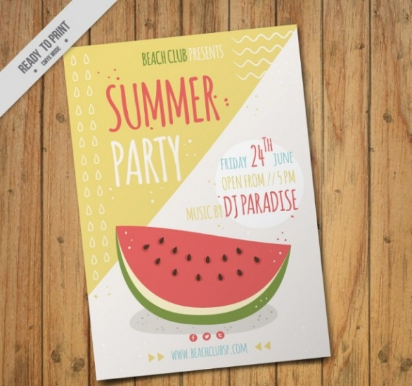 Retro Summer Party Flyer Design