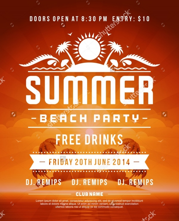 Retro Summer Party Poster or Flyer