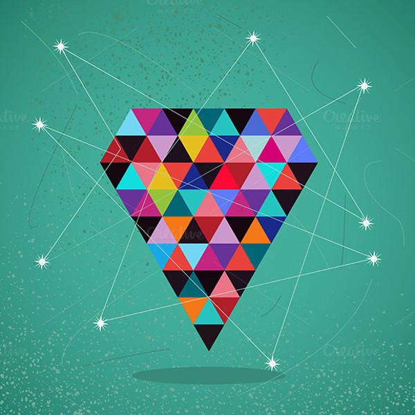 Retro Vector Illustration of Diamond