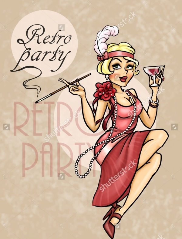 Retro Woman Cocktail Invitation Card