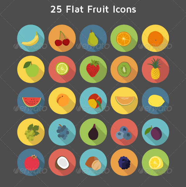 Round Icons Of Fruits