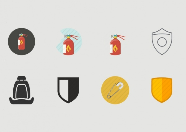 Safety Shield Protective Icons