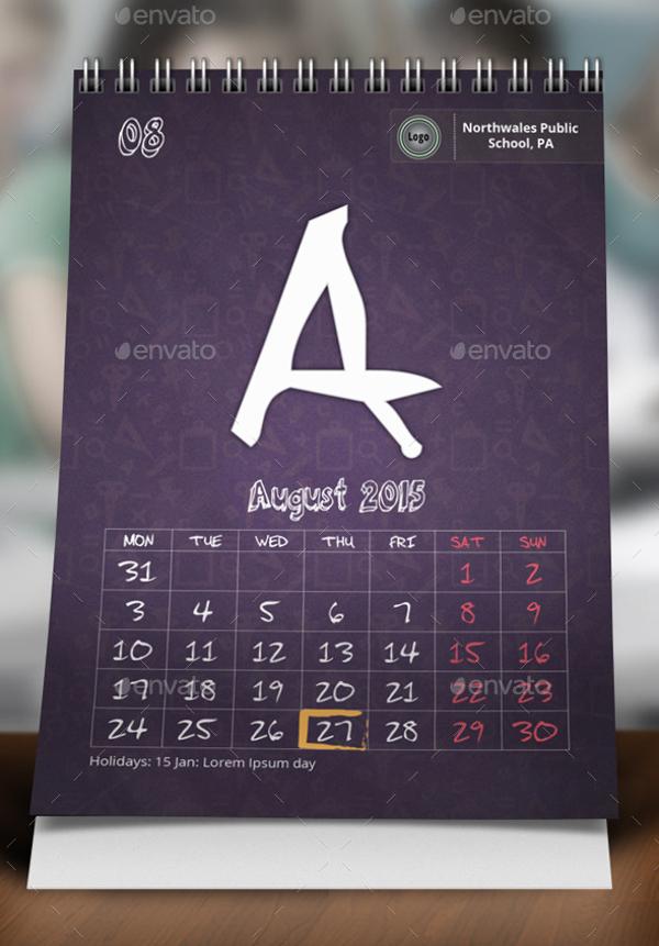 School Desk Calendar Templates