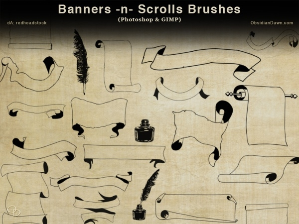 Scroll Banner Photoshop Brushes